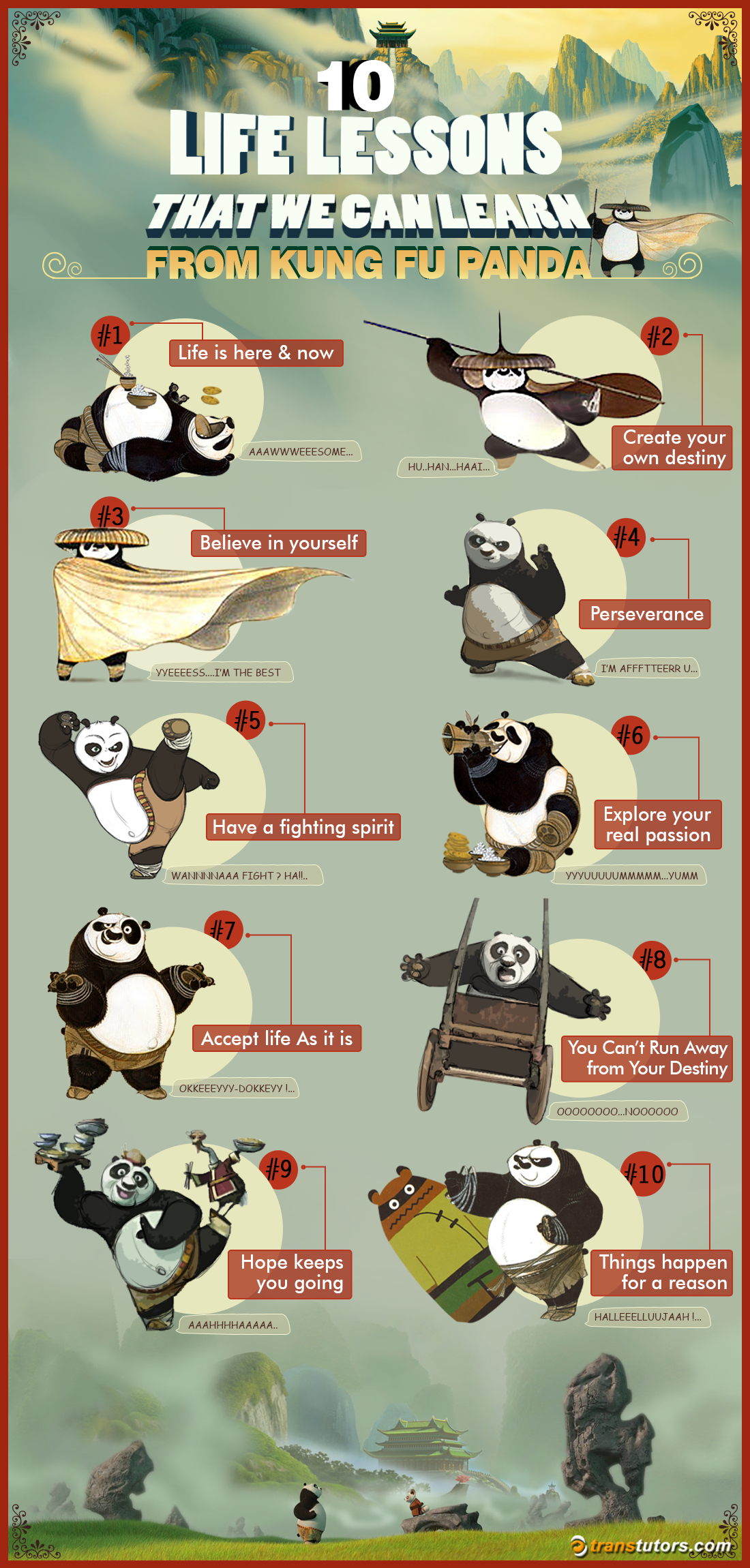 10 Life Lessons That We Can Learn From Kung Fu Panda #Infographic