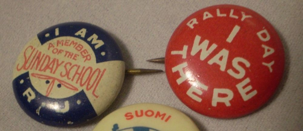 Vintage Memeber Of Sunday School Rally Day Pins Elgin David C Cook