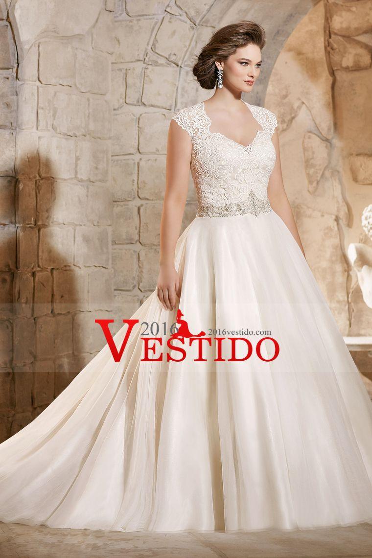 2.016 Tamaño Plus organza vestidos de novia con apliques correas y ...