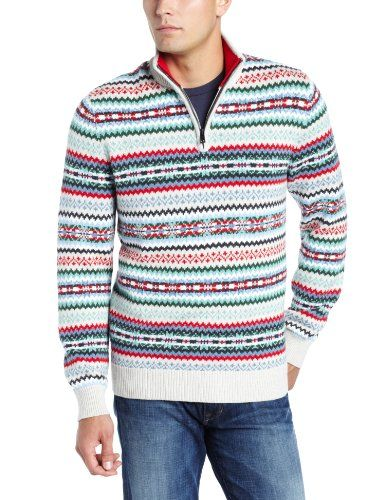 Nautica Men's 7 Gauge Fairisle Quarter Zip Sweater, Oatmeal ...