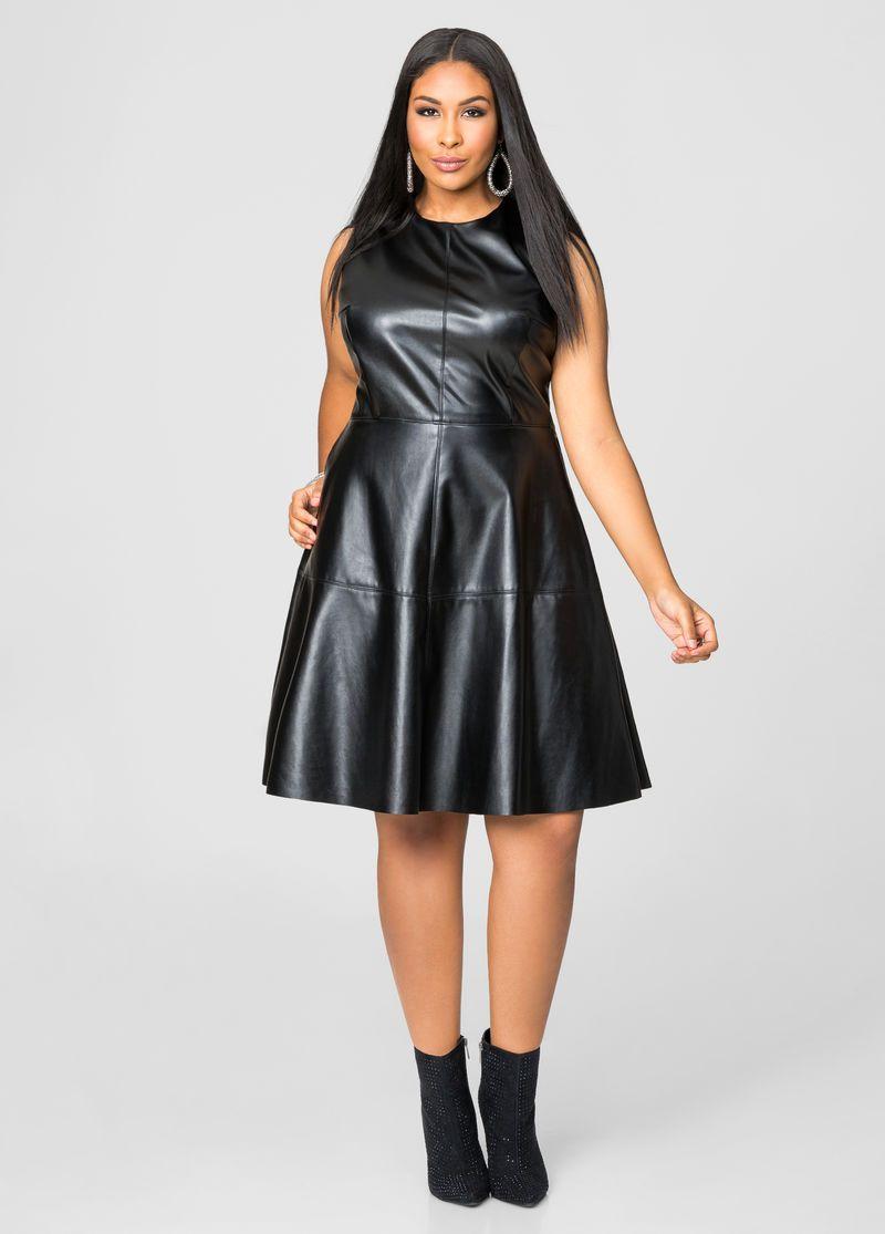 ef0a03e70f Faux Leather Skater Dress Faux Leather Skater Dress