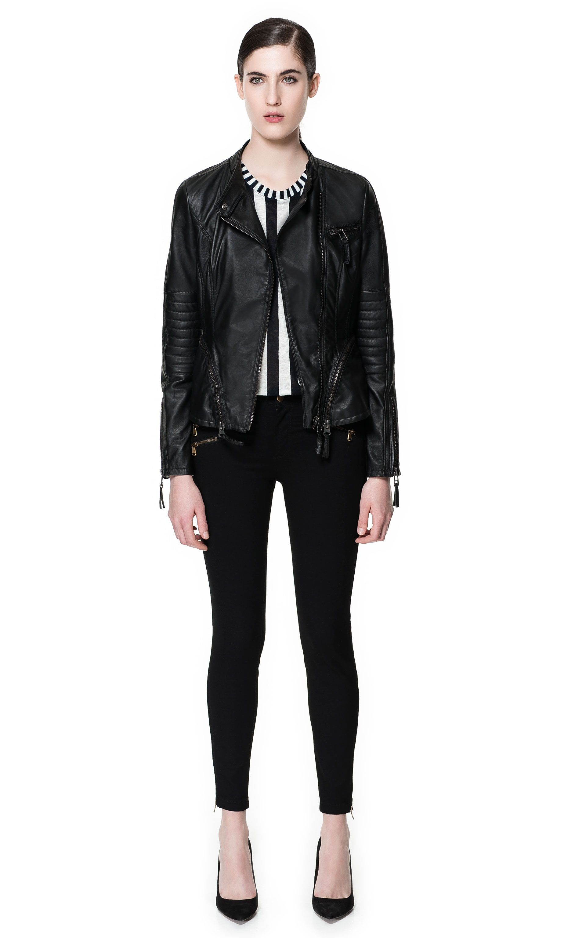 2cac98ef9b64 DOUBLE BREASTED LEATHER JACKET - Blazers - Woman - ZARA United States