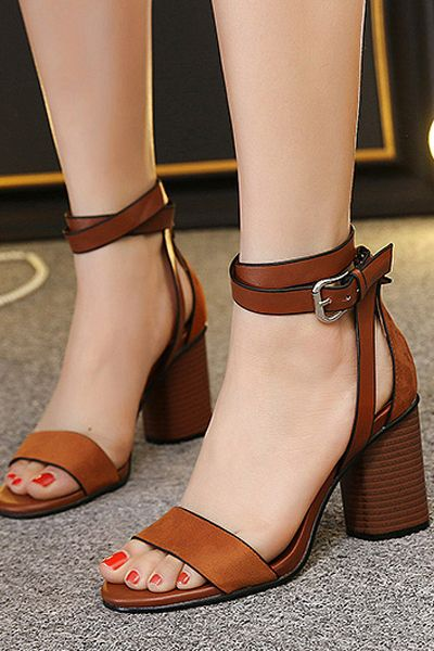 6c67c5c9b359 Chunky Heel Suede Ankle Strap Sandals