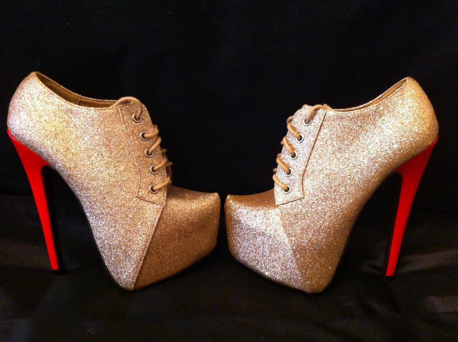 b09dcc6ec87 SERGIO TODZI GOLD GLITTER Platform Red Stiletto Heels Shoe Boot UK3 ...