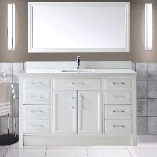 Calais 60 Bath Cabinet White Vanity Bathroom Bathroom Single