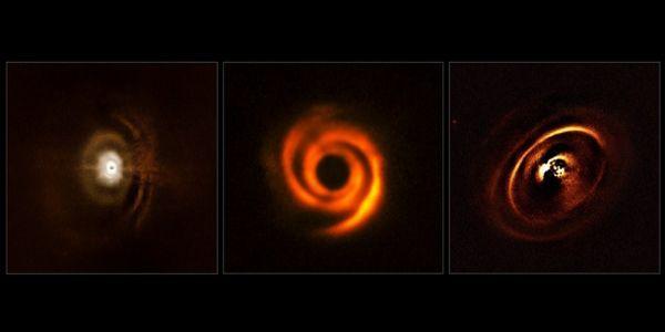 Deze drie planeetvormende schijven zijn waargenomen met het SPHERE-instrument van ESO's Very Large Telescope. De waarnemingen zijn gedaan om meer inzicht te krijgen in de raadselachtige evolutie van jonge planetenstelsels