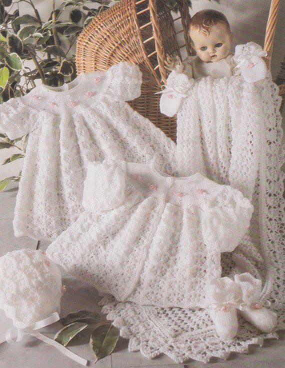 c69f19271 Vintage baby knitting pattern for 3 ply layette set blanket booties ...