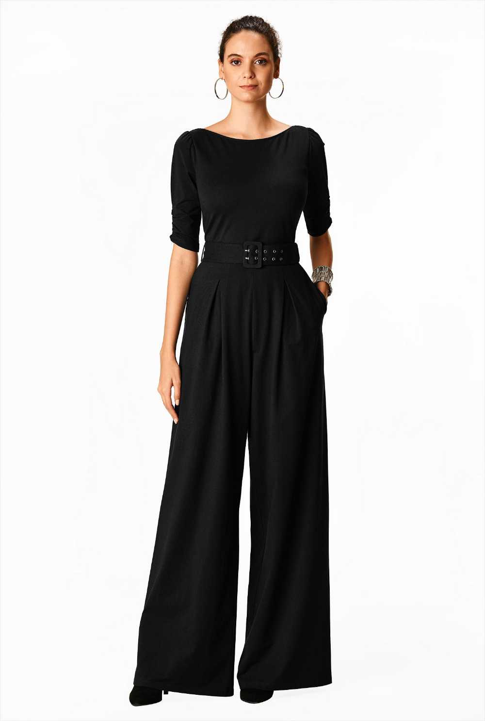 Cotton knit belted palazzo jumpsuit - Women's Clothing 0 ...