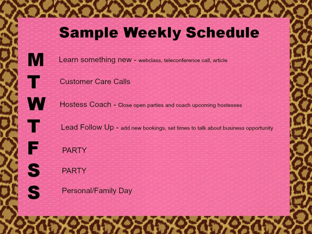 Sample Weekly Schedule WwwFacebookComThepartyplansecret  My
