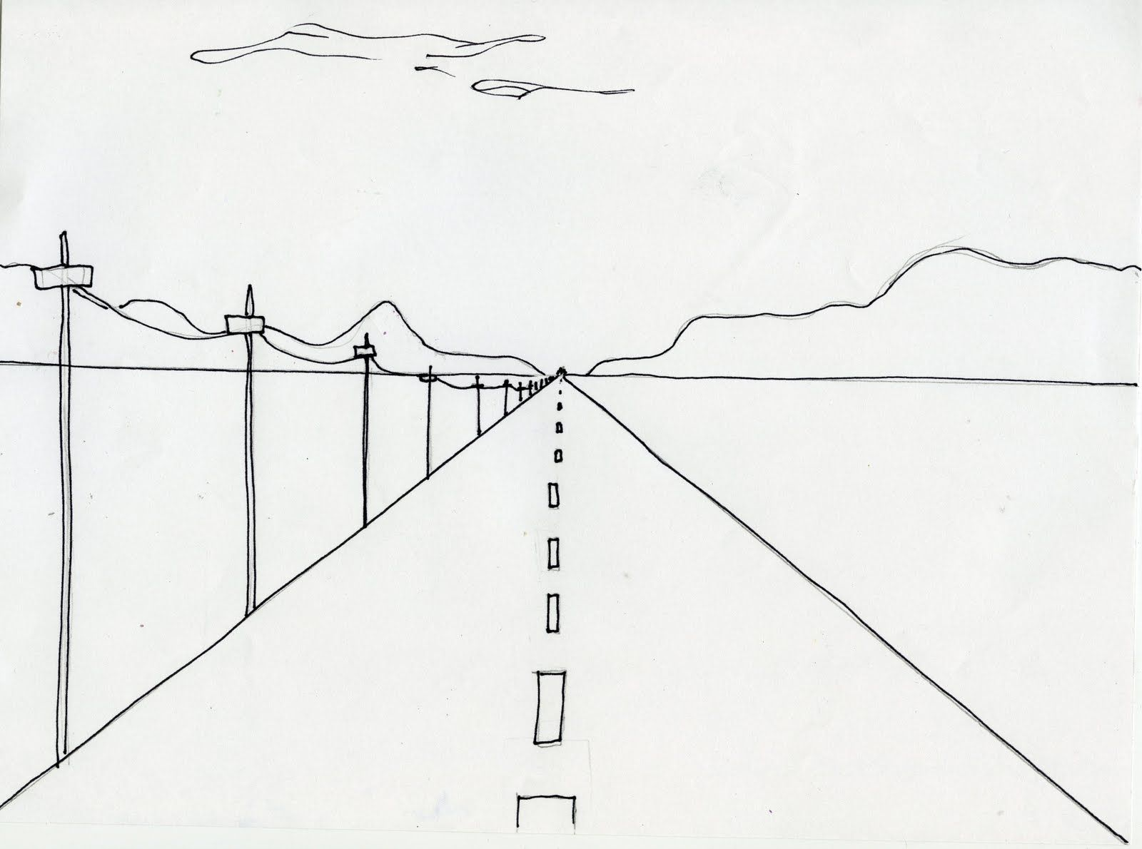 Horizon Line Art Definition : A simple illustration of one point perspective and the