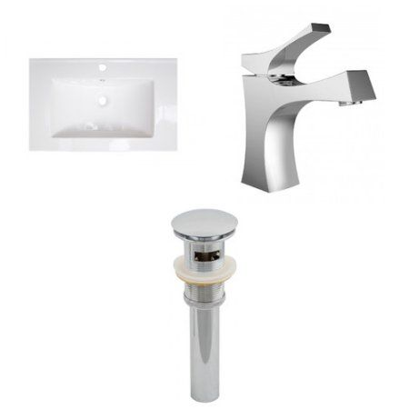 2375-in W 1 Hole Ceramic Top Set In White Color - Cupc Faucet Incl