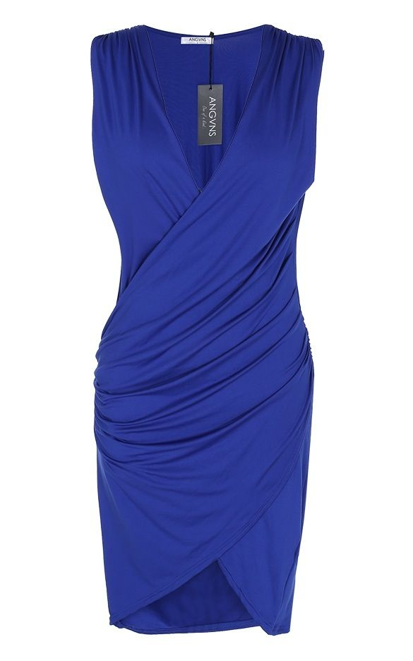 Blue Cross Over Pleated VNeck Dress. Sleeves design with cross over pleated waist.*SIZES: Medium, Large, XLarge*FABRIC: Polyester, Spandex