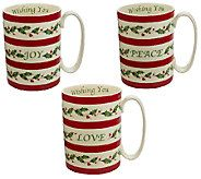 Lenox Porcelain Holiday WIshes S/3 Mugs - H202830