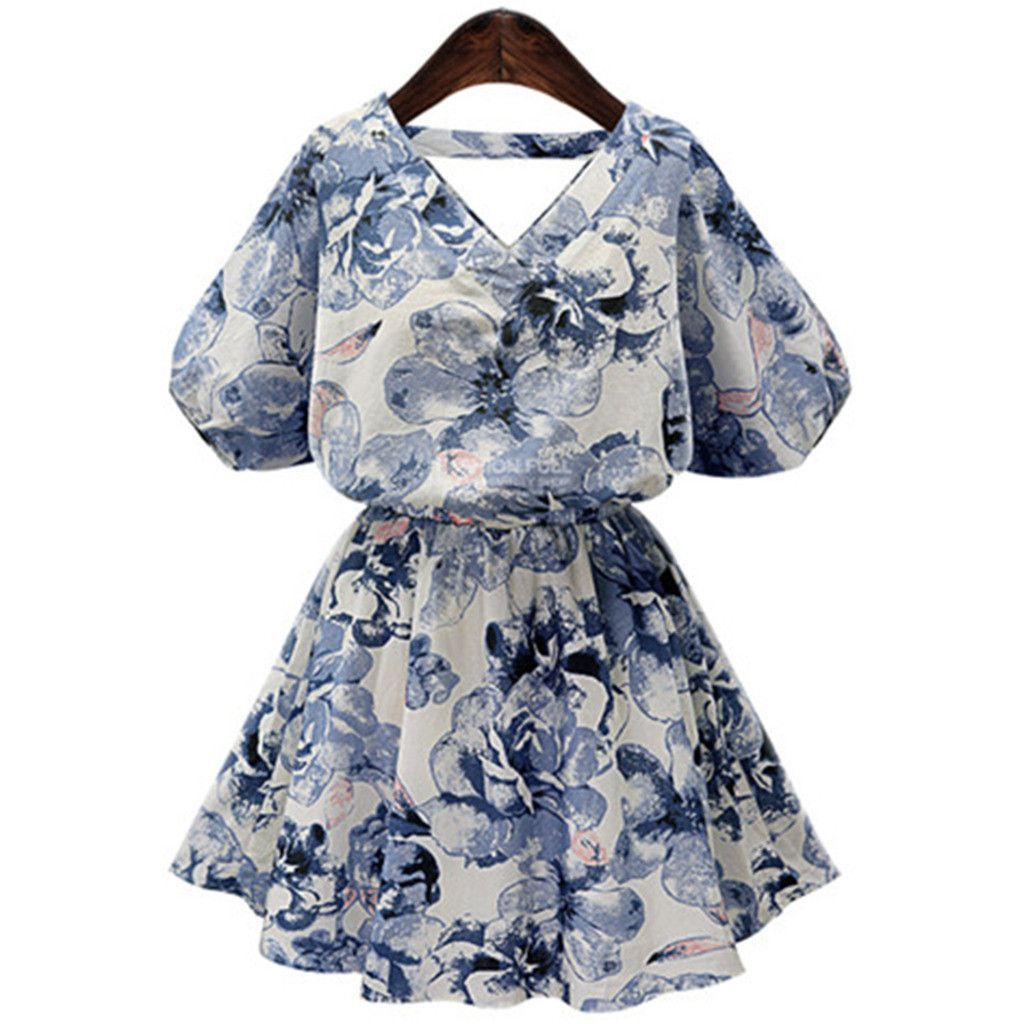 Plus size pirnting middle long dress blue xl products pinterest