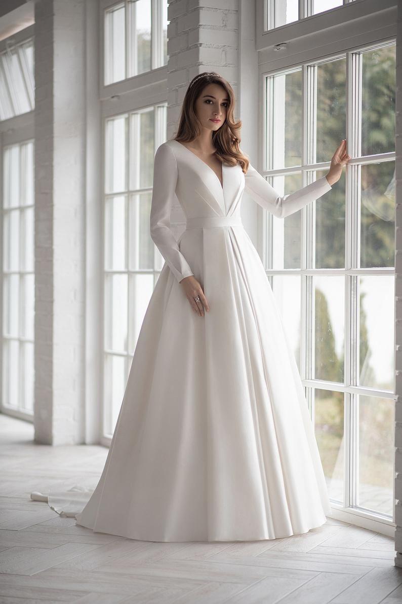 Satin Long Sleeve White Ivory Blush Wedding Dress Boho Etsy Wedding Dress Guide Dream Wedding Dresses Boho Wedding Dress [ 1191 x 794 Pixel ]