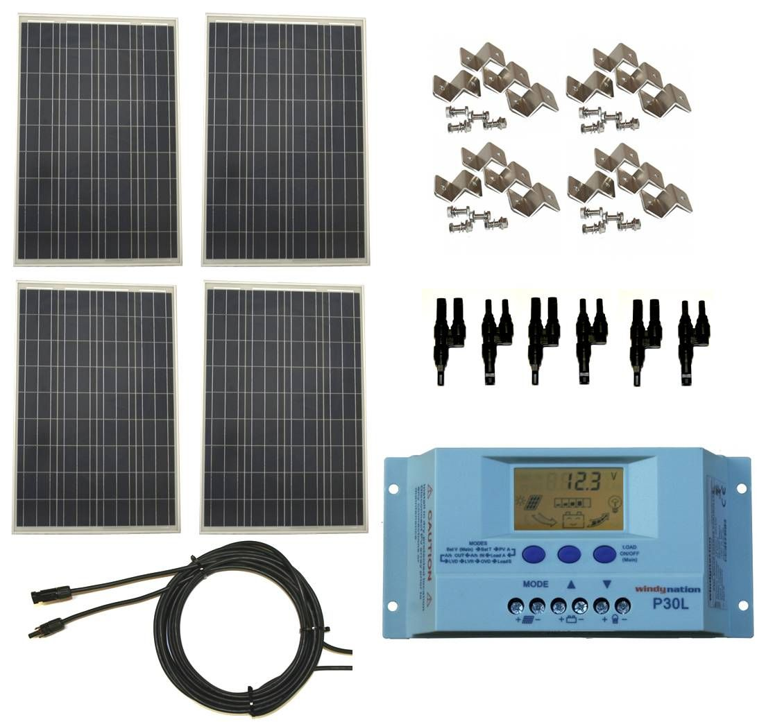 Windynation 400 Watt 12v 24v Polycrystalline Solar Panel Complete Kit With Lcd Pwm Solar Charge Controller Rv Boat Off Grid Solar Panel Installation Best Solar Panels Solar Energy Panels
