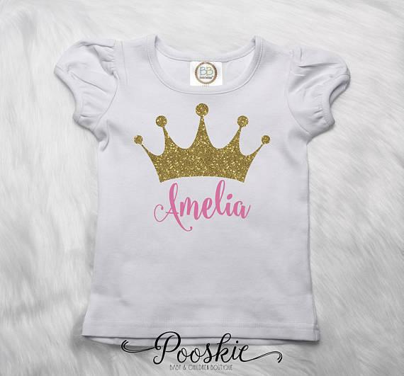 Custom Princess Shirt Toddler T Crown Name Glitter Tiara Monog