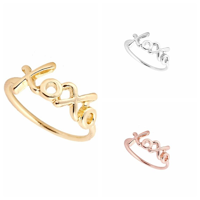 New Fashion Gold And Silver Plated Exo Kpop Letter Xoxo Ring For