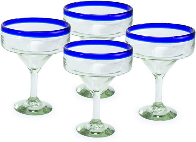 Amazon Com Mexart Artisan Crafted Hand Blown Blue Rim Margarita Glass Recycled Glass 16 Oz Classic Set Of 4 Marga Margarita Glass Recycled Glass Glass