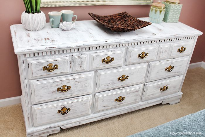 Distressed White Dresser Makeover How To Nest For Less Painted Furniture Distressed White Distressed Furniture Painting White Chalk Paint Furniture