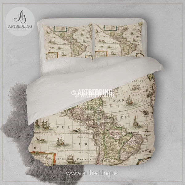 TWIN XL North and South America Old map dorm room bedding set, Vintage old World map duvet cover set, Vintage steampunk map college dorm bedding