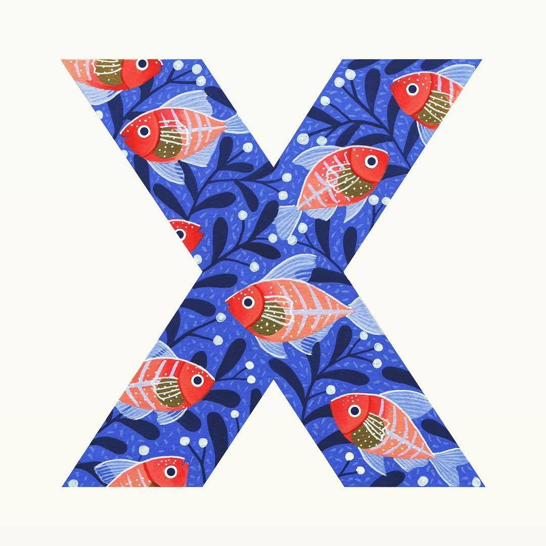 Day 24 Letter X X Ray Fish Painted With Gouache
