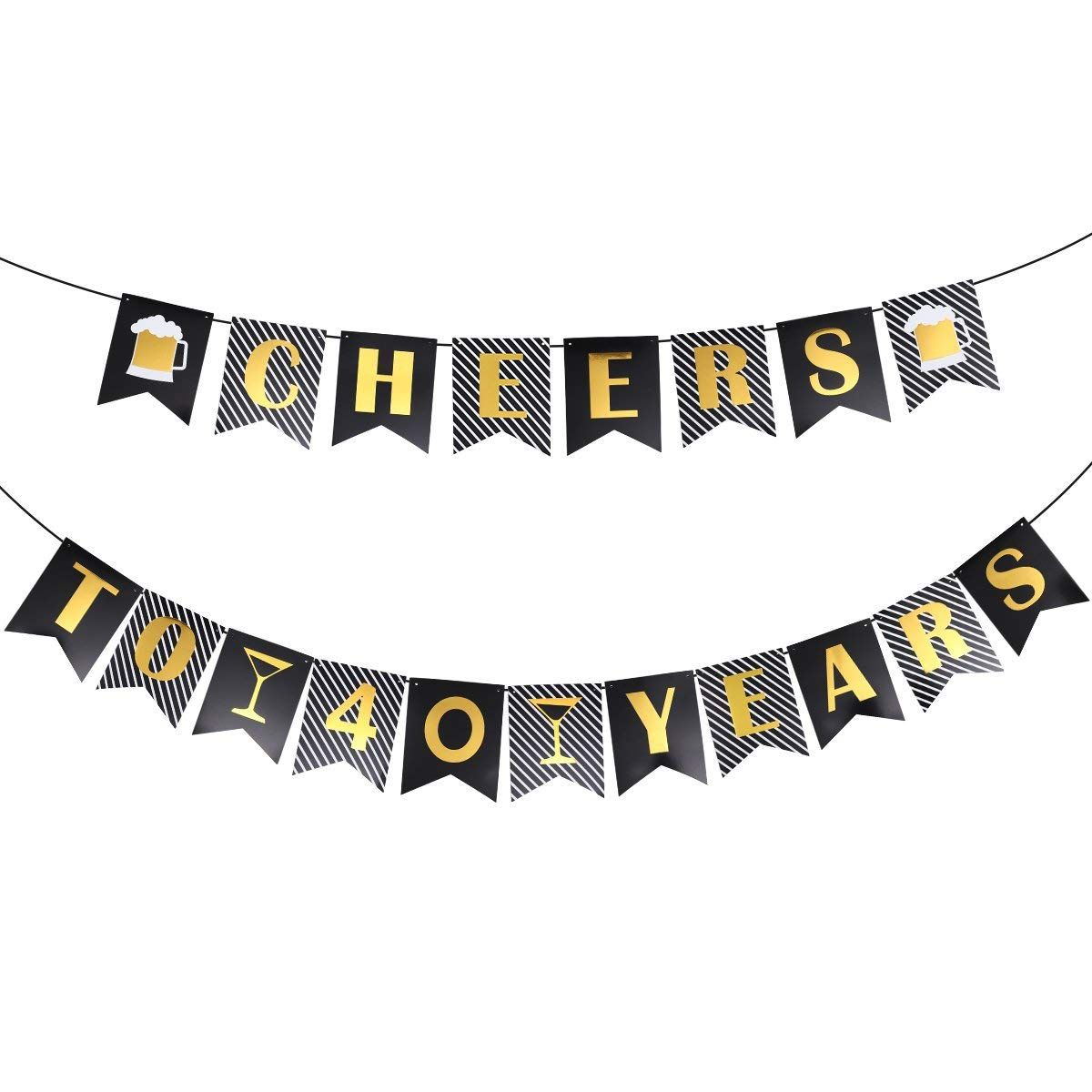 Amazon 40th Birthday Decorations Unomor Banner For And