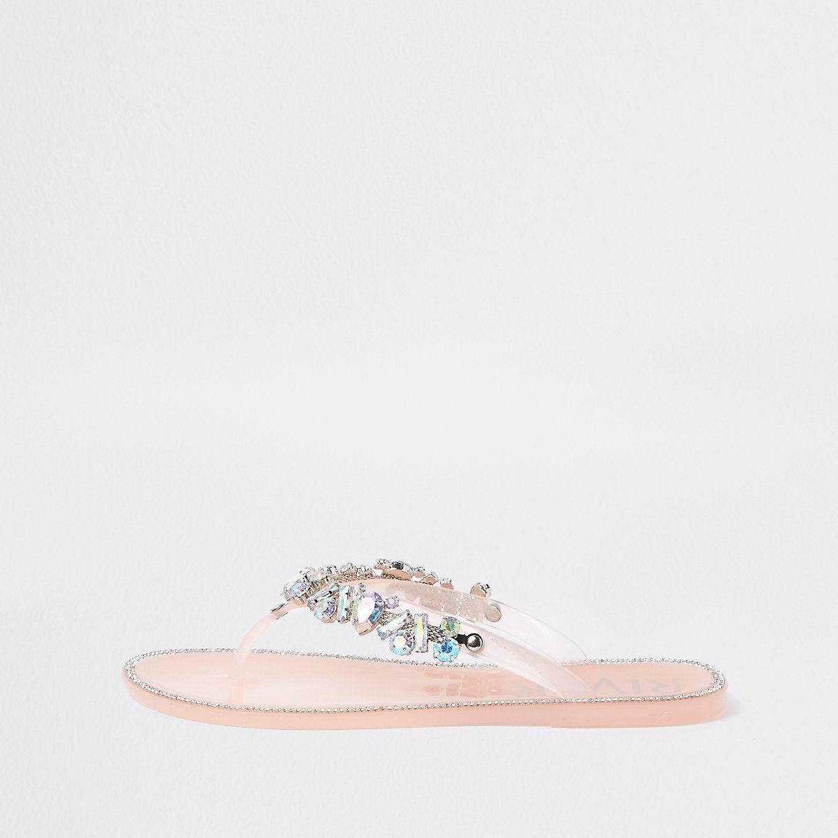 8f24c73a3e77 Light pink gem embellished jelly flip flops