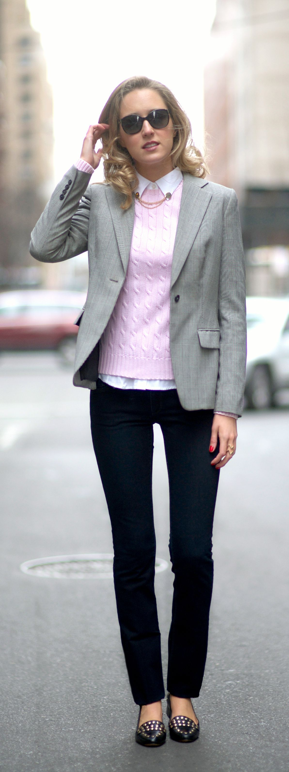 casual friday || houndstooth suit jacket, black jeans, pink cable ...