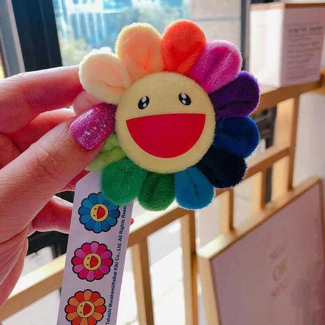 Flower Takashi Murakami Kiki Kaikai Brooch White rainbow Pin Badge Plush
