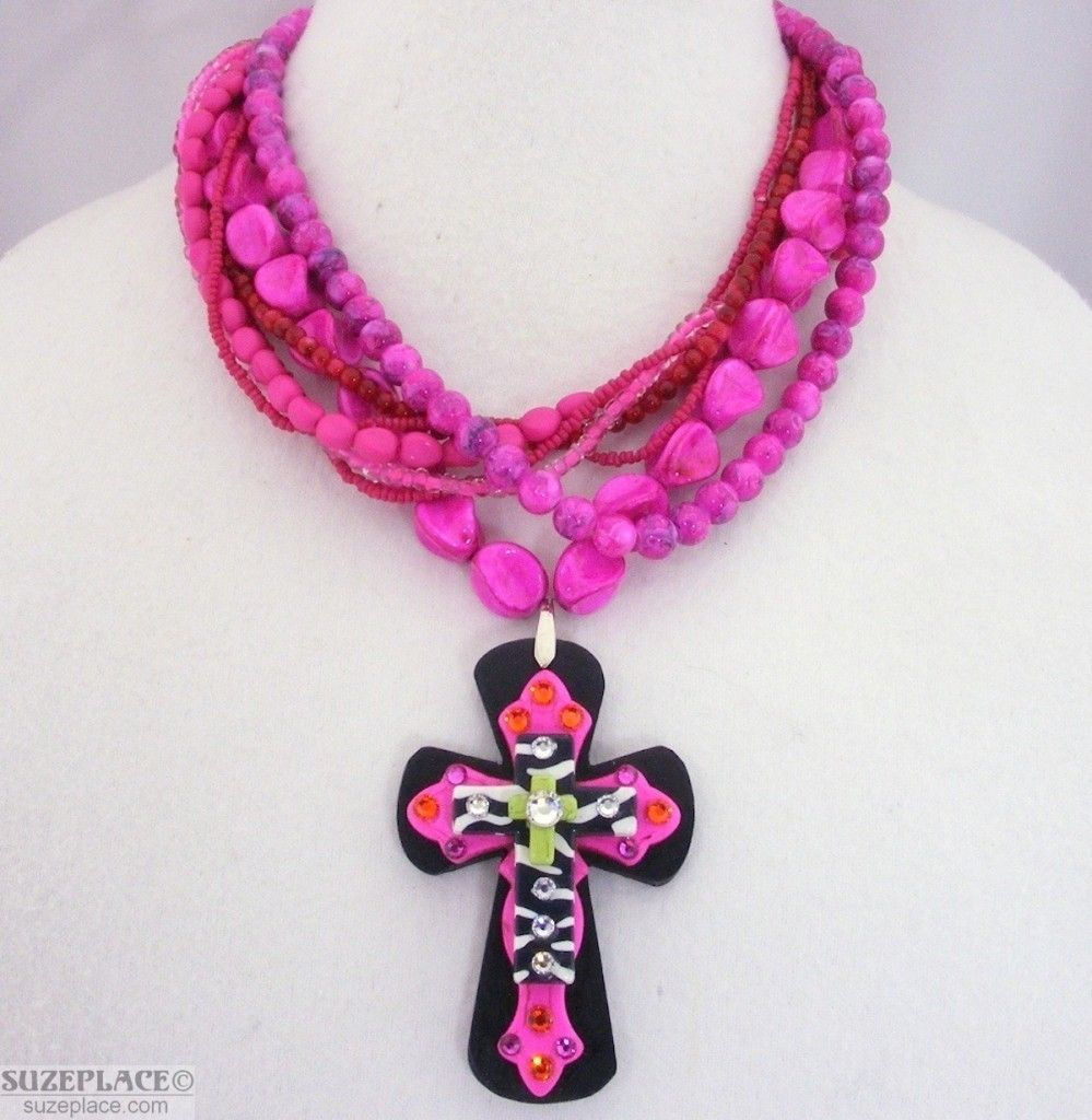 Pink & Black Chunky Bead Layered Zebra Striped Cross Pendant Necklace SuzePlace.com