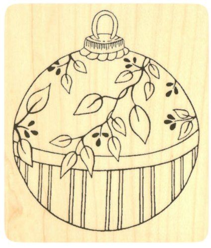 """{Single Count} Unique & Custom (2 1/2"""" by 3"""" Inches) """"Decorative, Floral Christmas Ornament"""" Square Shaped Genuine Wood Mounted Rubber Inking Stamp"""