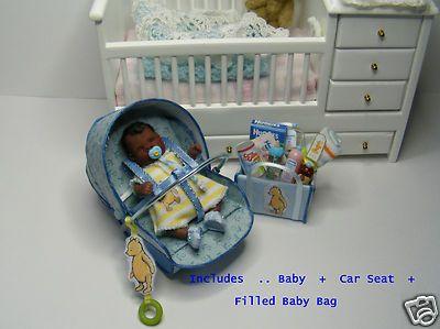 OOAK Baby Zachary Tiny Ethnic Car Seat Pooh Bear 1 12th Dolls House