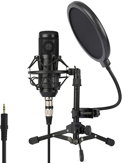 Download Premium Psd Of Professional Condenser Microphone With A Pop Microphone Recording Studio Setup Singing Microphone