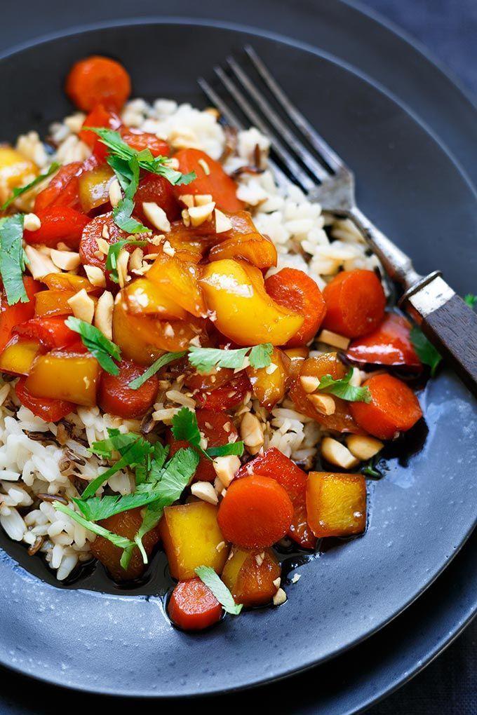 Teriyaki-Gemüse mit Reis und Erdnüssen #veganerezeptemittag