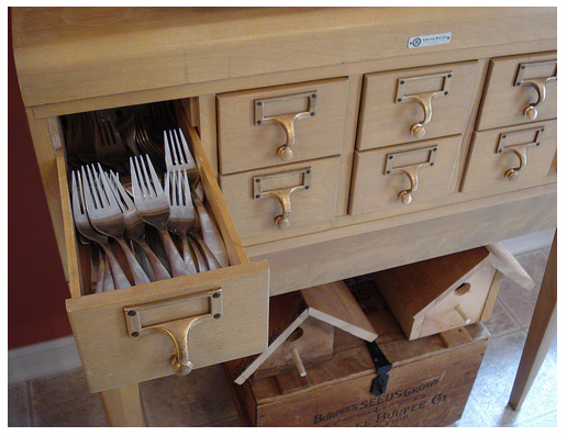 A Card Catalog Repurposed To Store Flatware Utensils Kitchen Inspiration