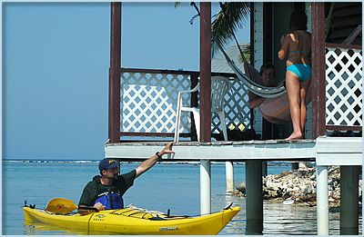 sea kayak from the front of your cabana in belize