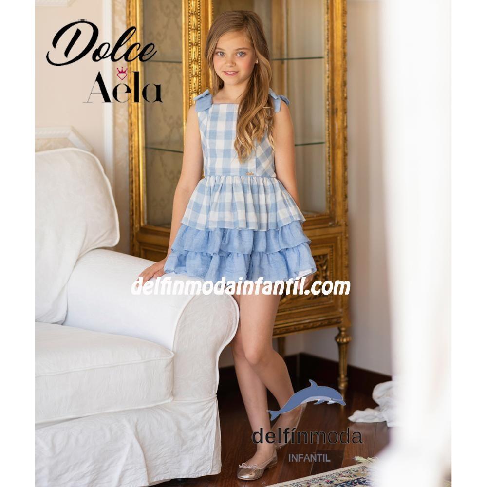 6c5e08940 Vestido para niña DOLCE AELA de cuadros celeste | Moda Infantil ...