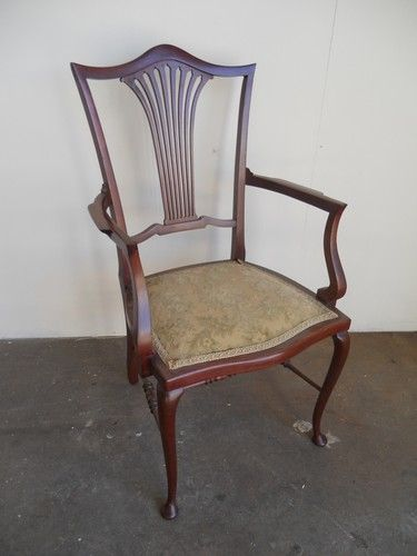 Antique Edwardian Carved Mahogany Upholstered Occasional Armchair