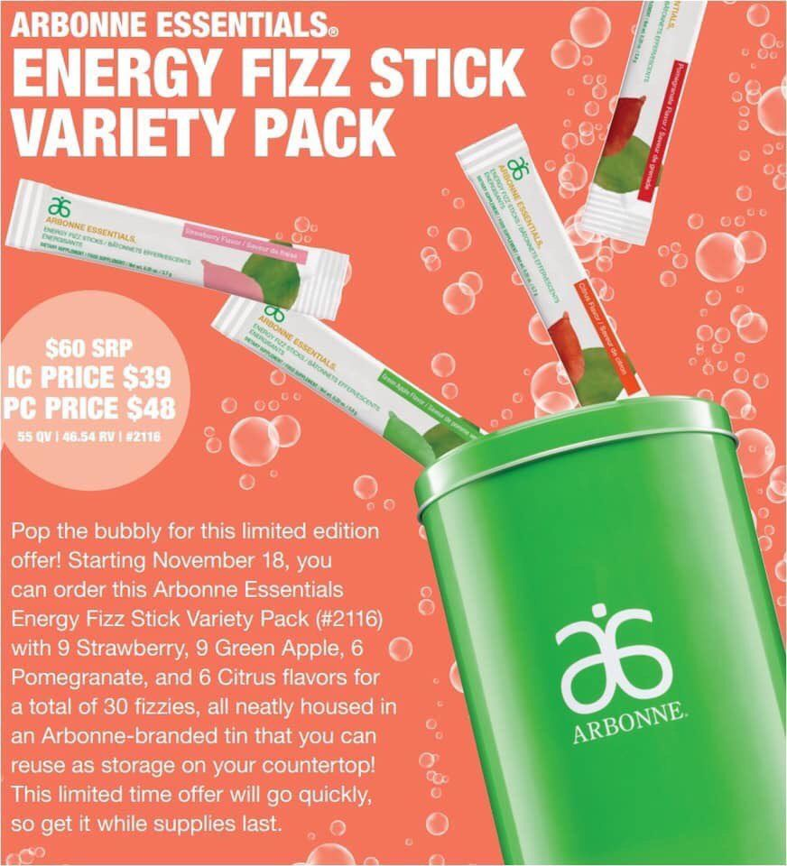 Energy Fizz stick variety pack. FOUR different flavors in