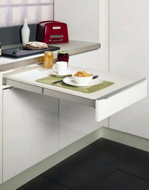 Mesa retrátil 1  Cozinha  Pinterest  Bancadas, Embutido e Organização # Bancada Cozinha Retratil