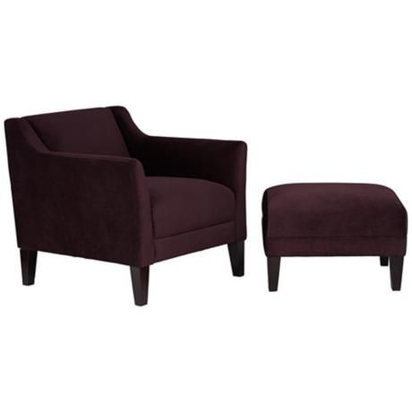 Prime Lillian Eggplant Accent Chair And Ottoman Family Room Evergreenethics Interior Chair Design Evergreenethicsorg