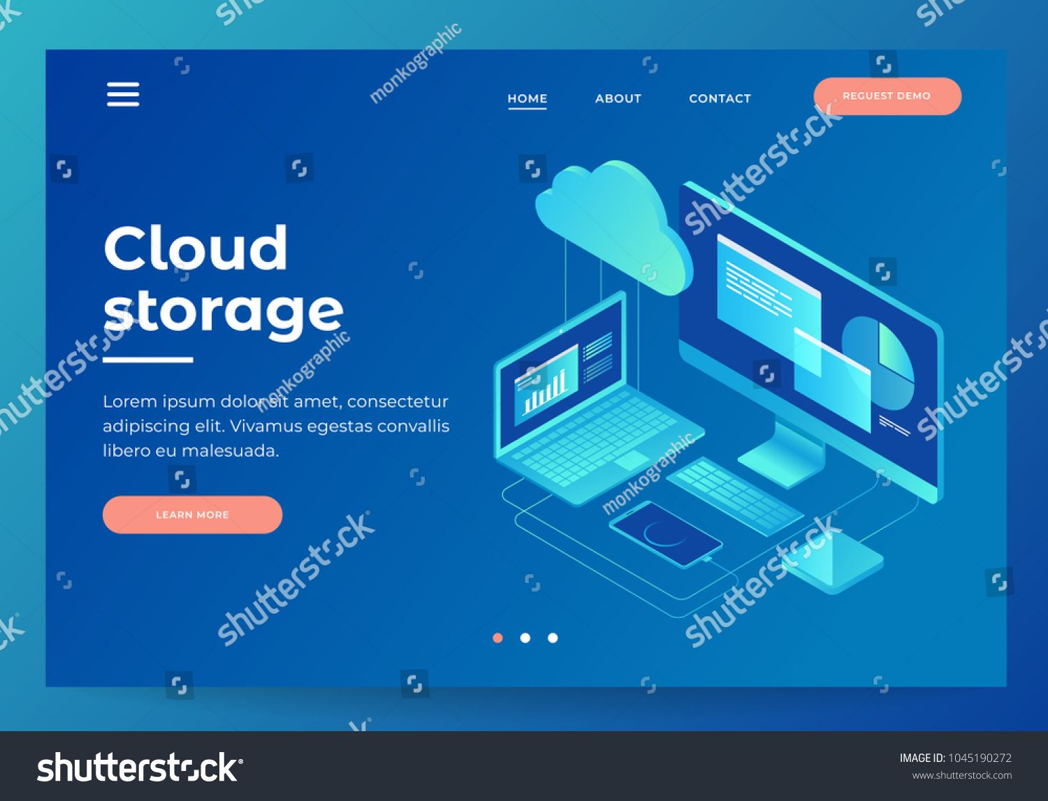 Concepts Cloud Storage Header For Website With Computer Laptop Smartphone On Blue Background Design For Lan In 2020 Graphic Design Trends Template Design Isometric