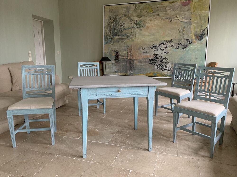 Tisch Mit Gustavianischer StühlenSchweden 4 1790Antik Um tdxrsQCh