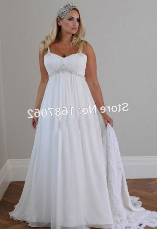 211228e7e9bd Plus Size Beach Wedding Dresses Spaghetti Straps Pleats Chiffon Beads Court  Train Custom Made Empire Waist