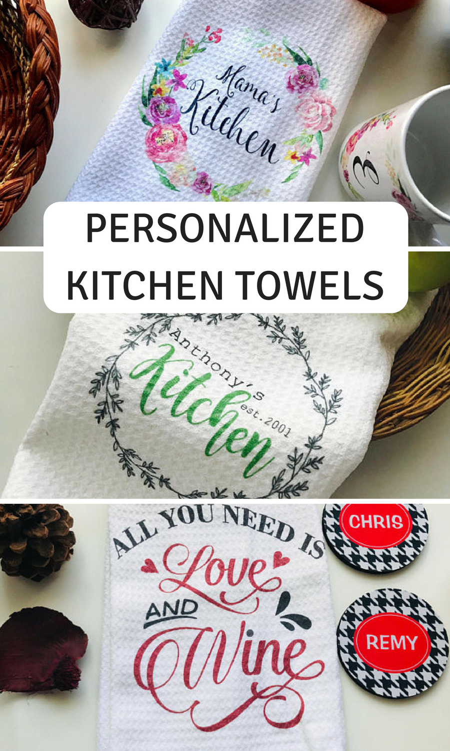 Personalized kitchen towels dish hand towels family kitchen towels