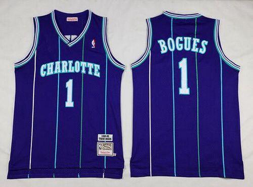 Men s Charlotte Hornets  1 Muggsy Bogues 1992-93 Purple Hardwood Classics  Soul Swingman Throwback Jersey 89ffb684a