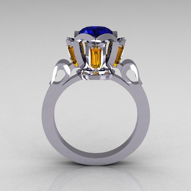 Modern Edwardian 10K White Gold 1.0 Carat Blue Yellow Sapphire Baguette Cocktail Wedding Ring R305-10WGBYS by artmasters on Etsy https://www.etsy.com/listing/80518138/modern-edwardian-10k-white-gold-10-carat