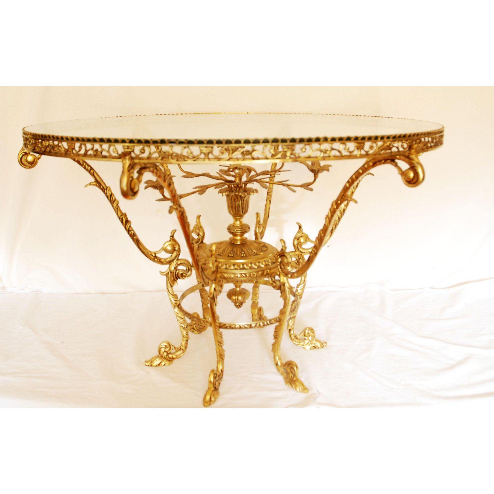 Ornate Round Mid Century Brass Glass Coffee Table Chairish Glass Coffee Table Coffee Table Table [ 1600 x 1600 Pixel ]