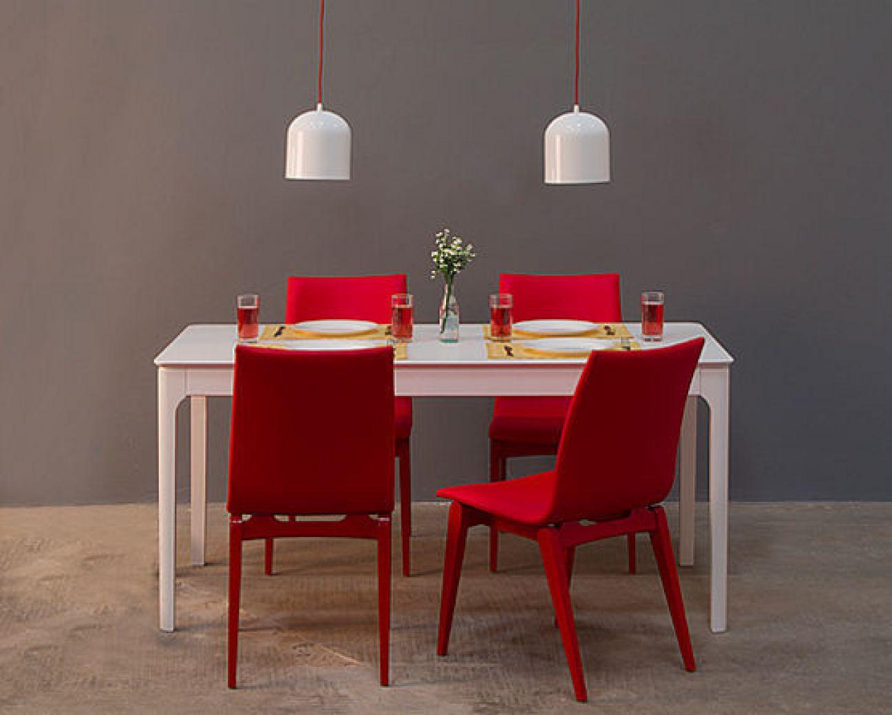 Luminária pendente vita branca e vermelha dinner table